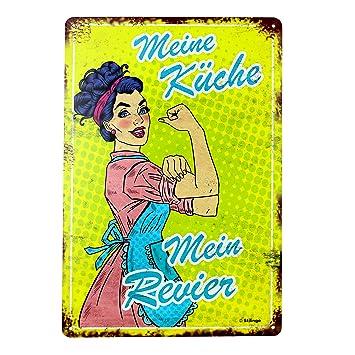 Stilingo Retro Blechschild Kuche Vintage Magnet Metallschild