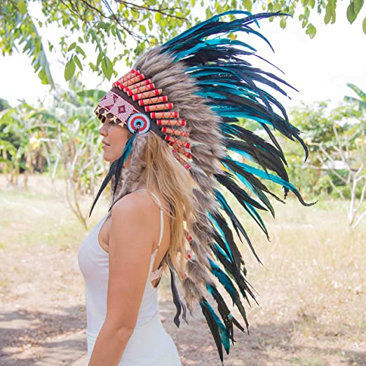 Feather Headdress | Native American Indian Inspired | Medium | Aqua