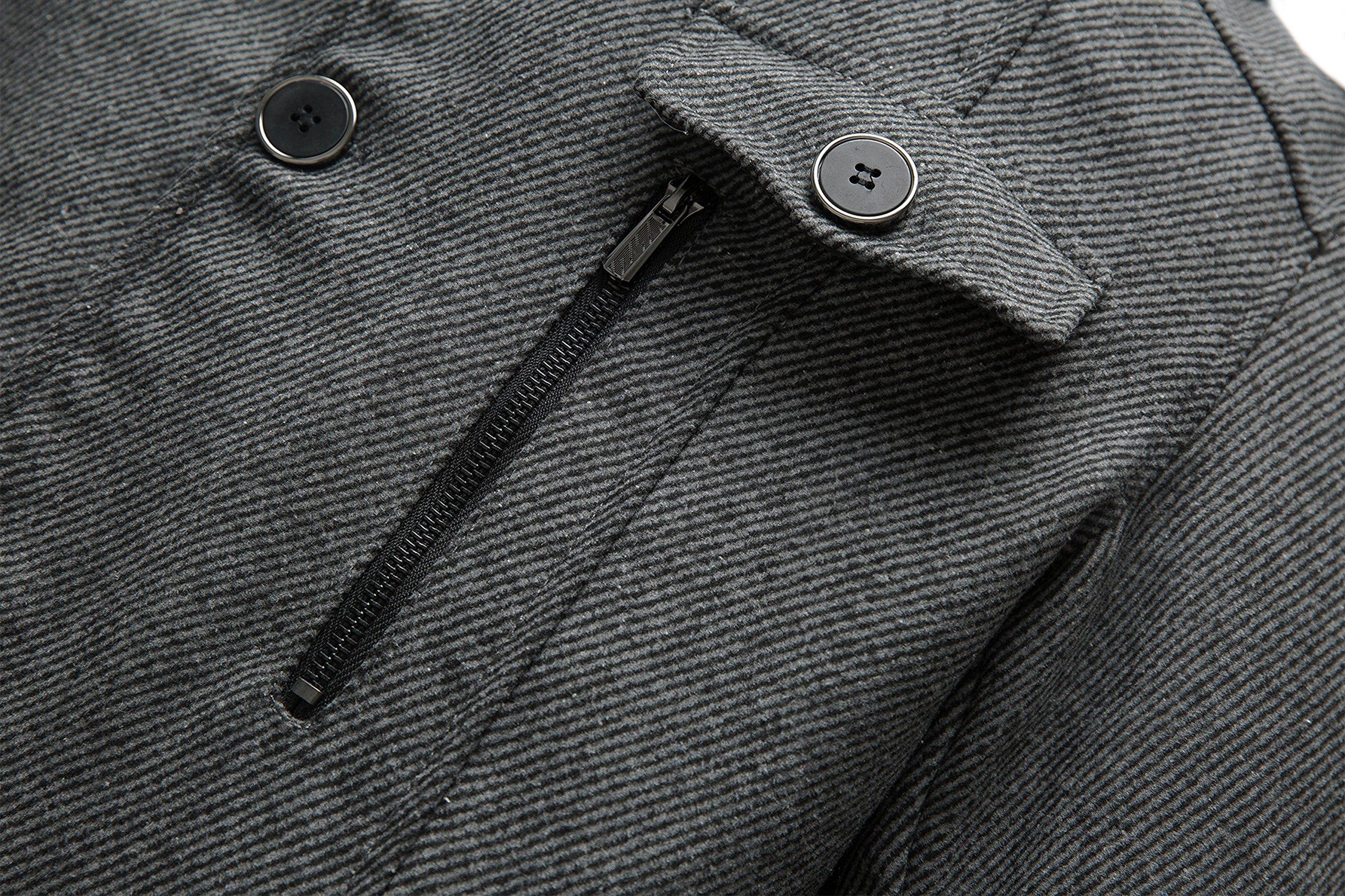 Wantdo Men's Wool Coat Stand Collar Windproof Jacket Overcoat Grey Large by Wantdo (Image #5)