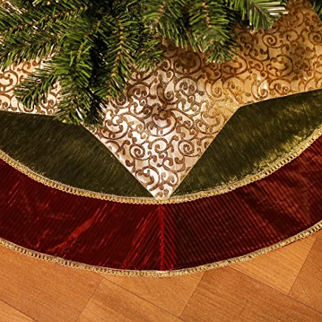 Valery Madelyn 48quot Classic Traditional Gold And Green Christmas Tree Skirt With Red Trim
