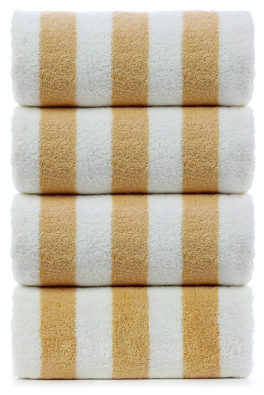 Large Turkish Beach Towel, Pool Towel with Cabana Stripe, Eco Friendly, 100% Turkish Cotton (Blue 4 Pack 30x60 inches) by Turkuoise Towel TURKUOISE TURKISH TOWEL TRK-CBN-STR-BLU-4X-FBA-PRNT