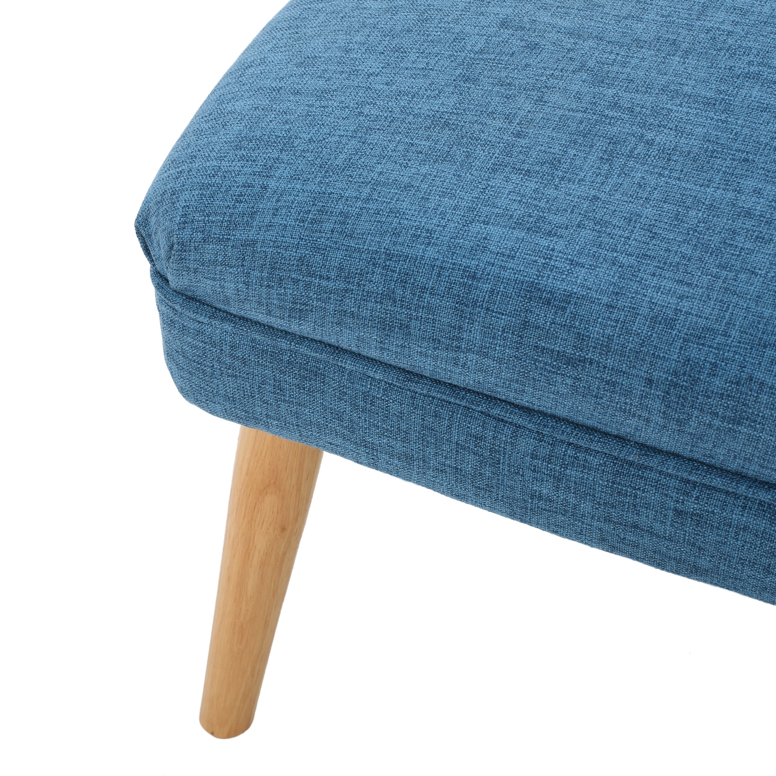 Dumont Mid Century Modern Fabric Ottoman (Blue) by GDF Studio (Image #4)