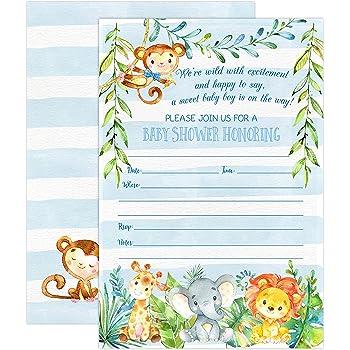 Amazon 30 baby shower invitations boy with envelopes 30 pack boy jungle safari baby shower invitations safari animal invitation 20 fill in invitations and envelopes blue boy baby shower party monkey lion filmwisefo