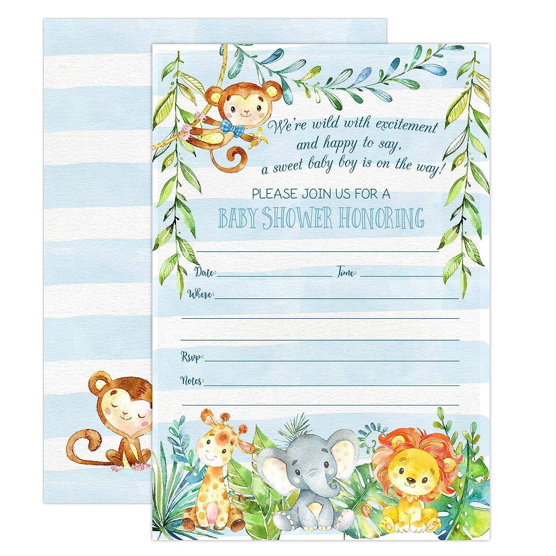 Amazon Com Boy Jungle Safari Baby Shower Invitations Safari Animal