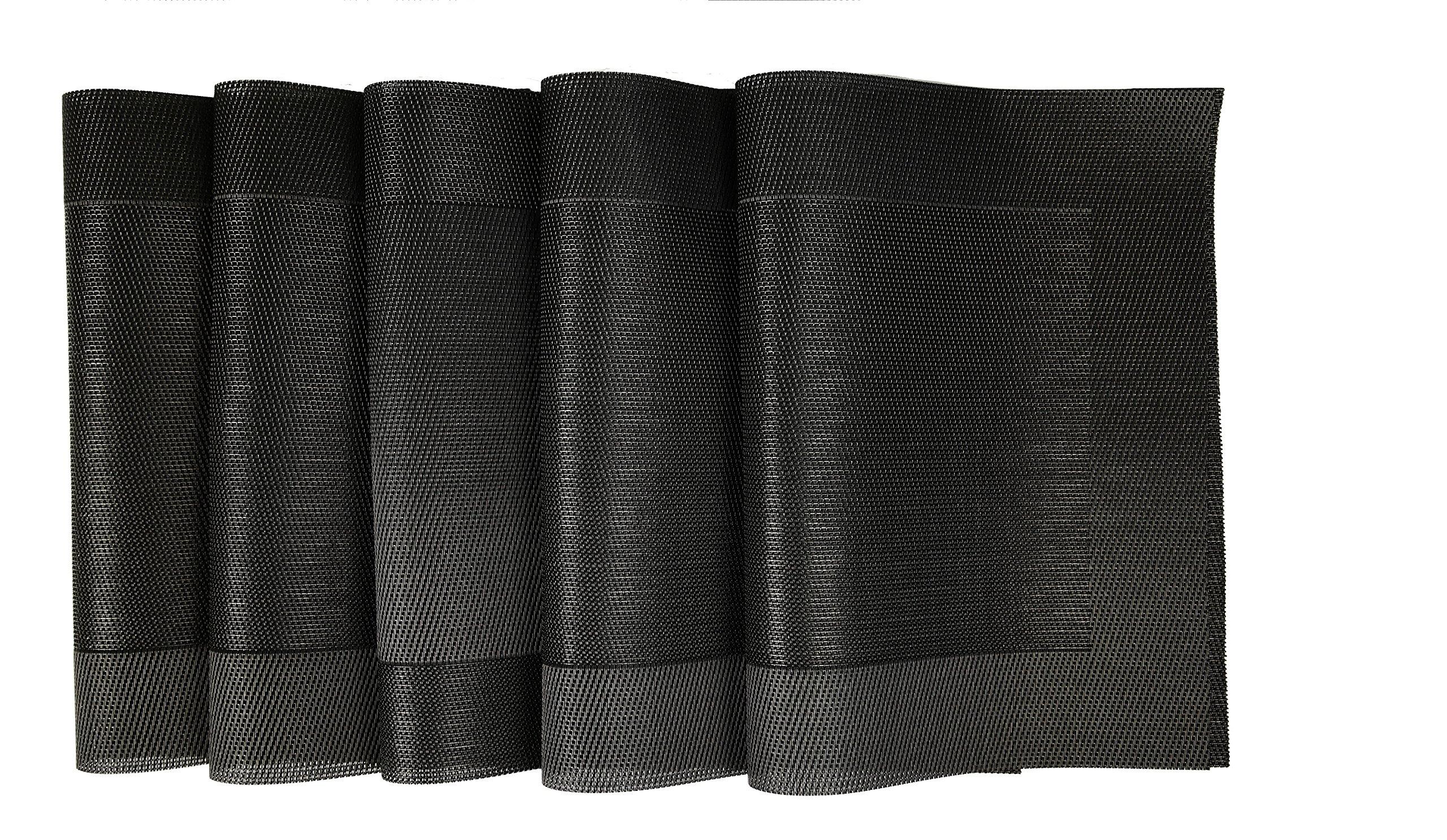 Bridge2Shopping™ Table Place Mats | PVC Dining Table Kitchen Mats - 45 x 30 CM - 6 Pieces -1 Set -Black Color