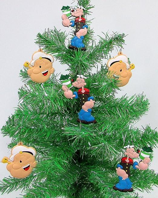 POPEYE THE SAILOR MAN Holiday Christmas Ornament Set Unique Shatterproof Plastic Design