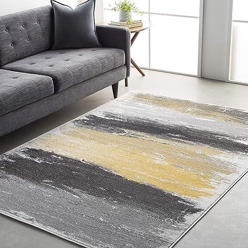 Nicola Gray and Yellow Modern Area Rug 7 11 x 10