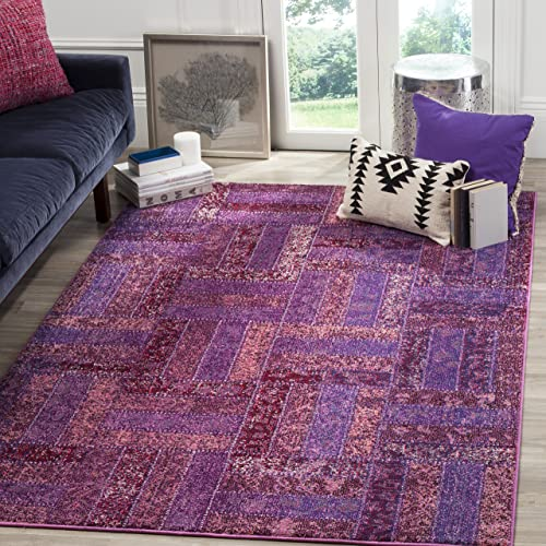 "Safavieh Monaco Collection MNC214L Modern Geometric Patchwork Purple and Multi Distressed Area Rug 5'1 "" x 7'7″"