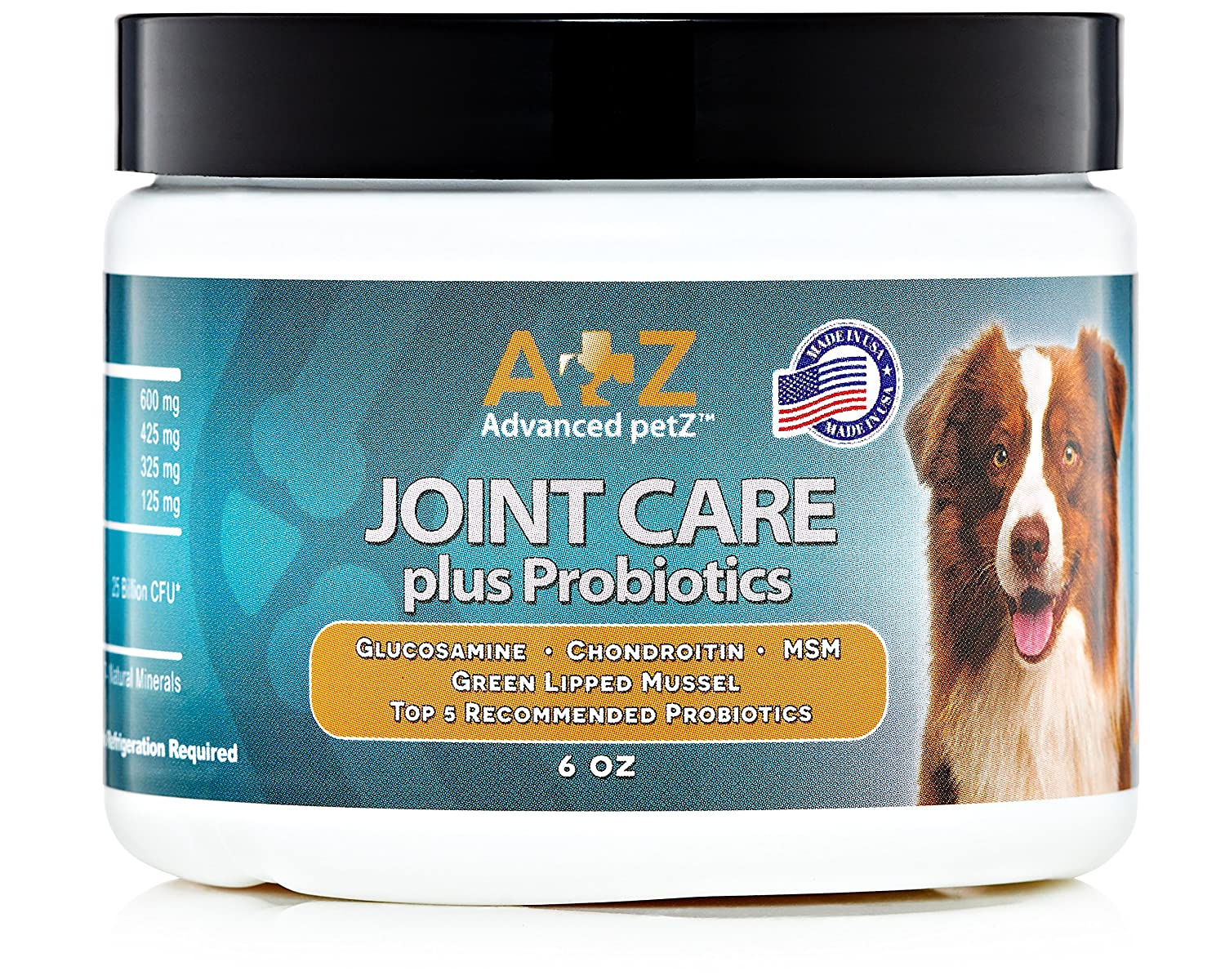Joint Care plus Probiotics Supplement for Dogs by Advanced petZ. Glucosamine Chondroitin MSM. 6oz