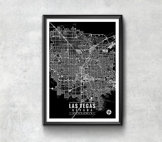 Amazon.com: Las Vegas Nevada Map with Coordinates, Las Vegas Wall ...