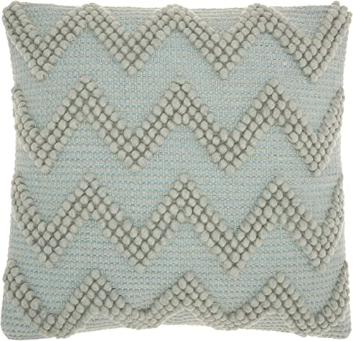 Nourison Mina Victory Casual Styles Large Textured Green Throw Pillow, 20 x 20 , 20 x20 , Celadon