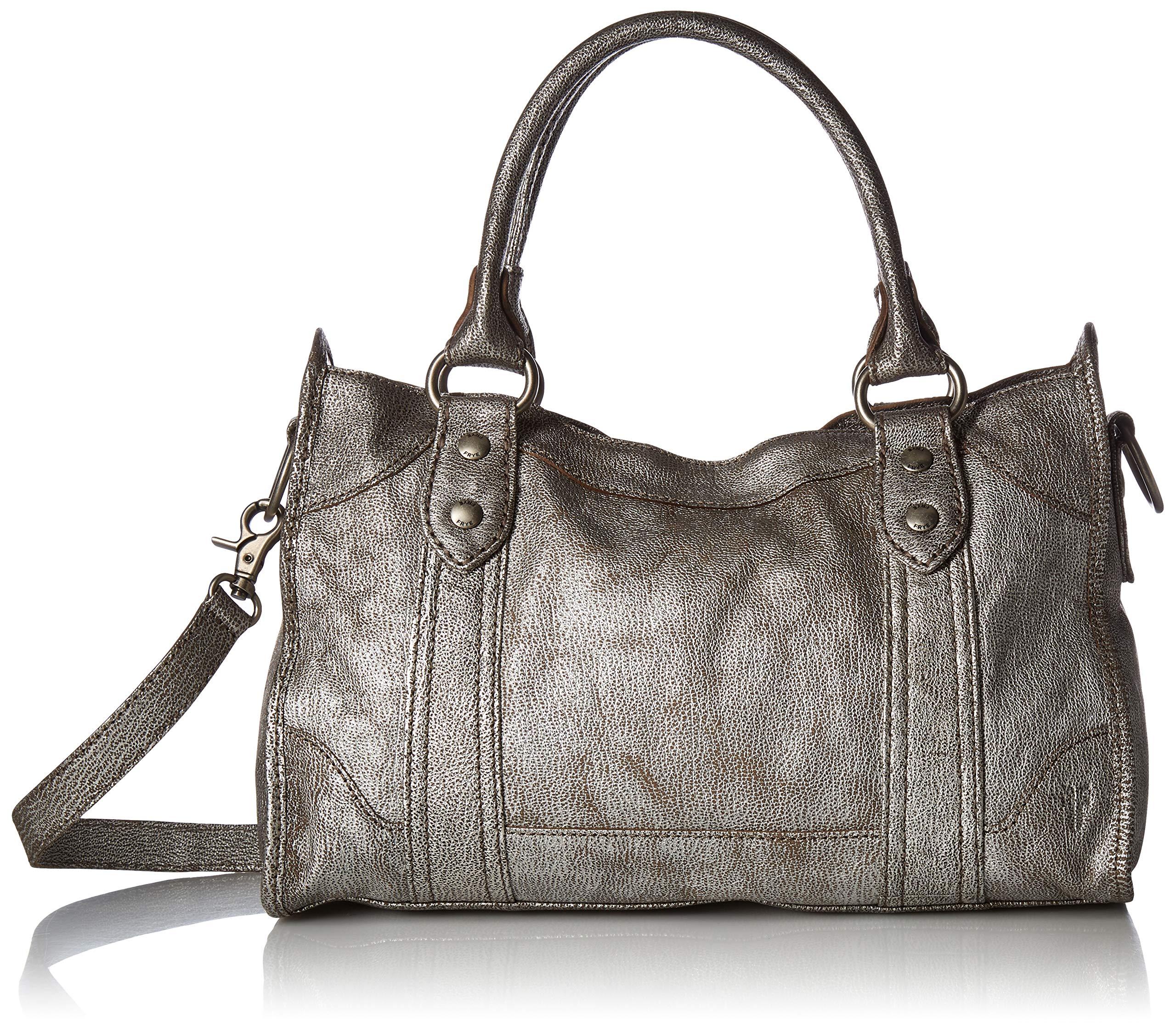 Frye Melissa Zip Satchel Leather Handbag, Silver by FRYE
