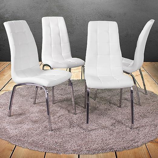 Miroytengo Pack 4 sillas Comedor Salon Blancas Laci Polipiel Estilo Moderno cromadas 100x54x46