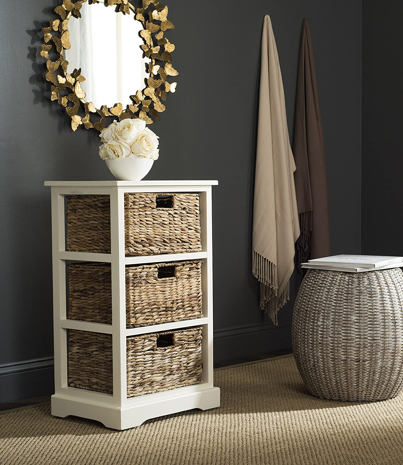 """Safavieh AMH5738B American Homes Collection Halle 3 Wicker Basket Storage Side Table, 17.3"""" x 13.4"""" x 29.5"""", Distressed White"""