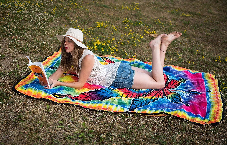HIPFREE Psychedelic Hippie Tie Dye Leaf Throw Queen Blanket 60 x 80