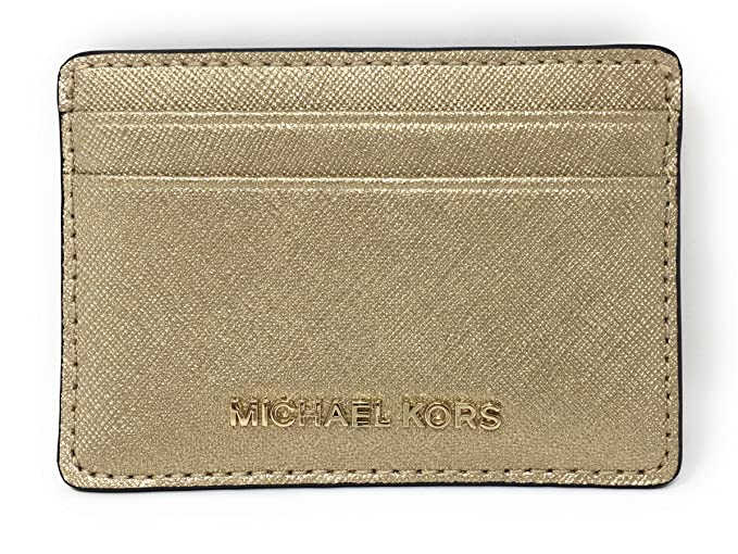 b89a6aa25def Michael Kors Money Pieces Saffiano Leather Card Holder (Pale Gold ...
