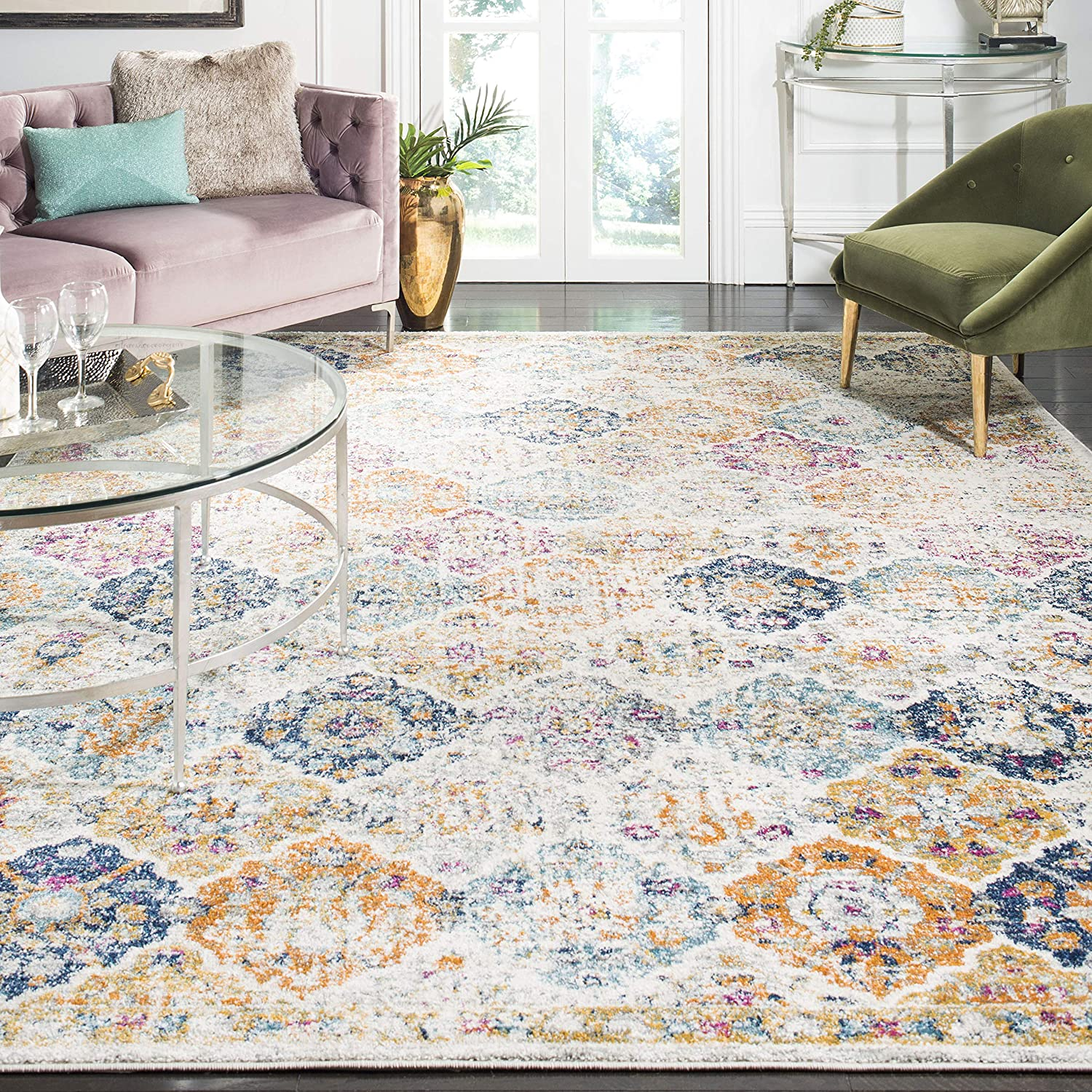 Multicolored Bohemian Chic Distressed Area Rug (8' x 10'