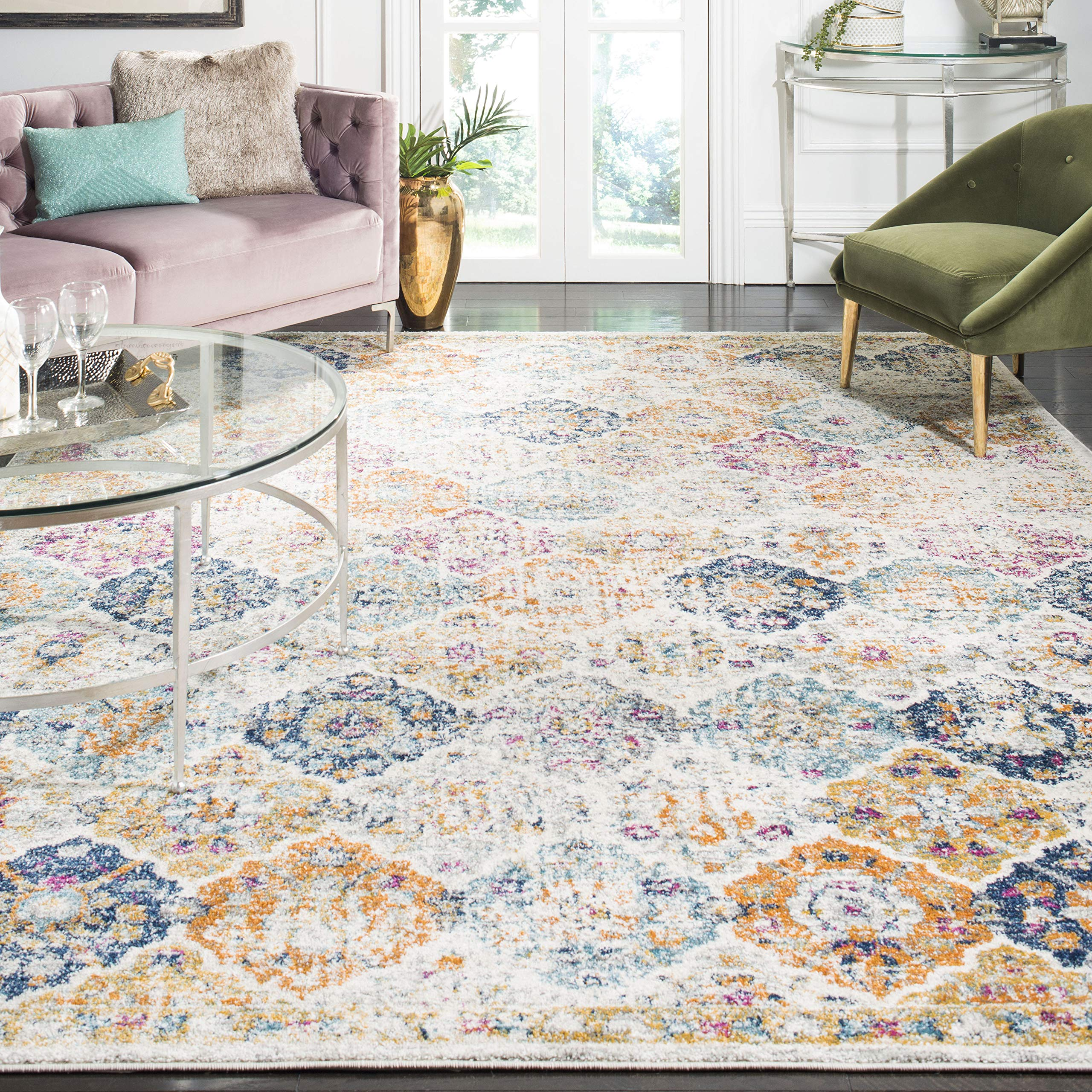 Safavieh Madison Collection MAD611B Cream And Multicolored Bohemian Chic  Distressed Area Rug (8u0027 X