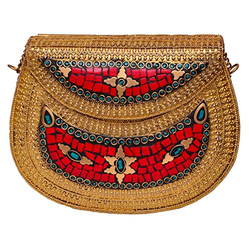 5a26e5bebbf Red Fancy Brass Metallic Party Clutch Purse with Colorful Mosaic Stonework  for Weddings, Evening Party: Amazon.in: Shoes & Handbags
