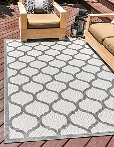 Unique Loom Outdoor Trellis Collection Lattice Border Transitional Indoor and Outdoor Flatweave Gray/Charcoal Area Rug 5' 3 x 8' 0
