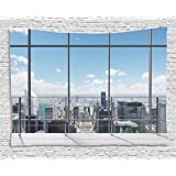 House Tapestry Landscape Decor by Ambesonne, Modern Office Work Place With View To City Architecture Contemporary Urban, Bedroom Living Room Dorm Wall Hanging, 80 W X 60 L Inch, Multi Color