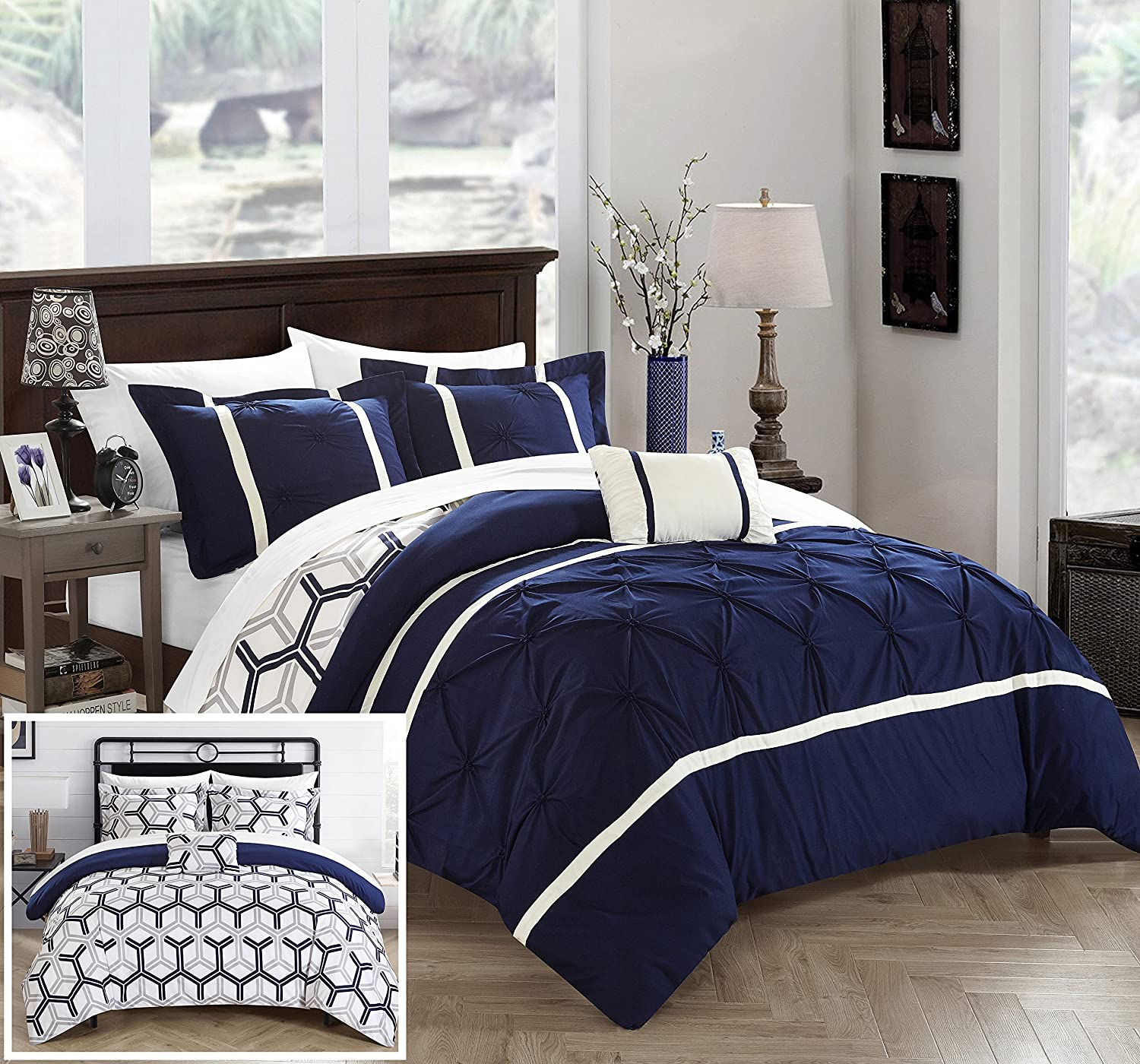 Chic Home 8 Piece Marcia Pinch Pleated & Reversible Geometric Print Full/Queen Bed in a Bag Comforter Navy with Sheet Set