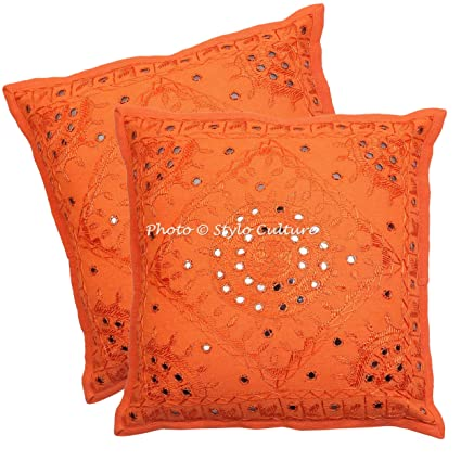 Stylo Culture Indian Mirror Embroidered Throw Pillow Covers 24x24 Set Of 2  Dorm Decor Orange Large
