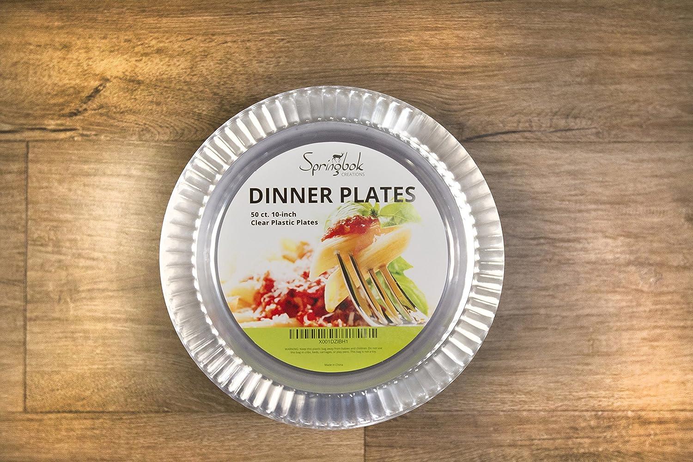 Amazon.com Springbok 10-inch Clear Plastic Dinner Plates (50 Count) Kitchen u0026 Dining & Amazon.com: Springbok 10-inch Clear Plastic Dinner Plates (50 Count ...