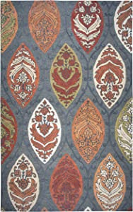 Rizzy Home Resonant Collection Wool Area Rug, 8' x 10', Gray/Dark Medallion