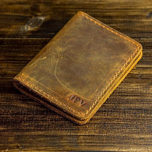 6b680ca17615 Amazon.com: Pegai Personalized Minimalist Bifold Wallet, Distressed Leather  Wallet - Knox | Cinnamon Brown: Handmade