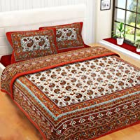 RajasthaniKart Comfort Rajasthani Jaipuri Traditional Sanganeri Print 144 TC Cotton Double Bedsheet with 2 Pillow Covers - King