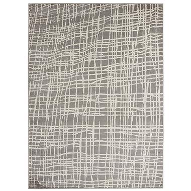Diagona Designs Contemporary Abstract Geometric Stripes Design Modern 5' X 7' Area Rug, 63  W x 87  L, Gray/Ivory (JAS2203)