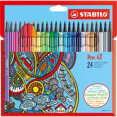 Premium Felt Tip Pen - STABILO Pen 68 Wallet of 24 Assorted Colours : Home & Kitchen