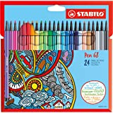 STABILO Pen 68 Fibre Tip Pen - Assorted Colours (Pack of 24)