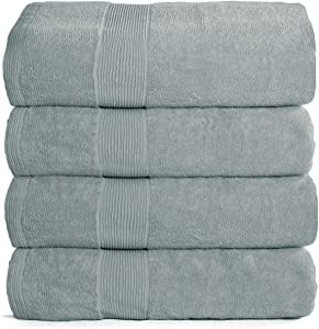 Elvana Home 4 Pack Bath Towel Set 27x54, 100% Ring Spun Cotton, Ultra Soft Highly Absorbent Machine Washable Hotel Spa Quality Bath Towels for Bathroom, 4 Bath Towels Jade