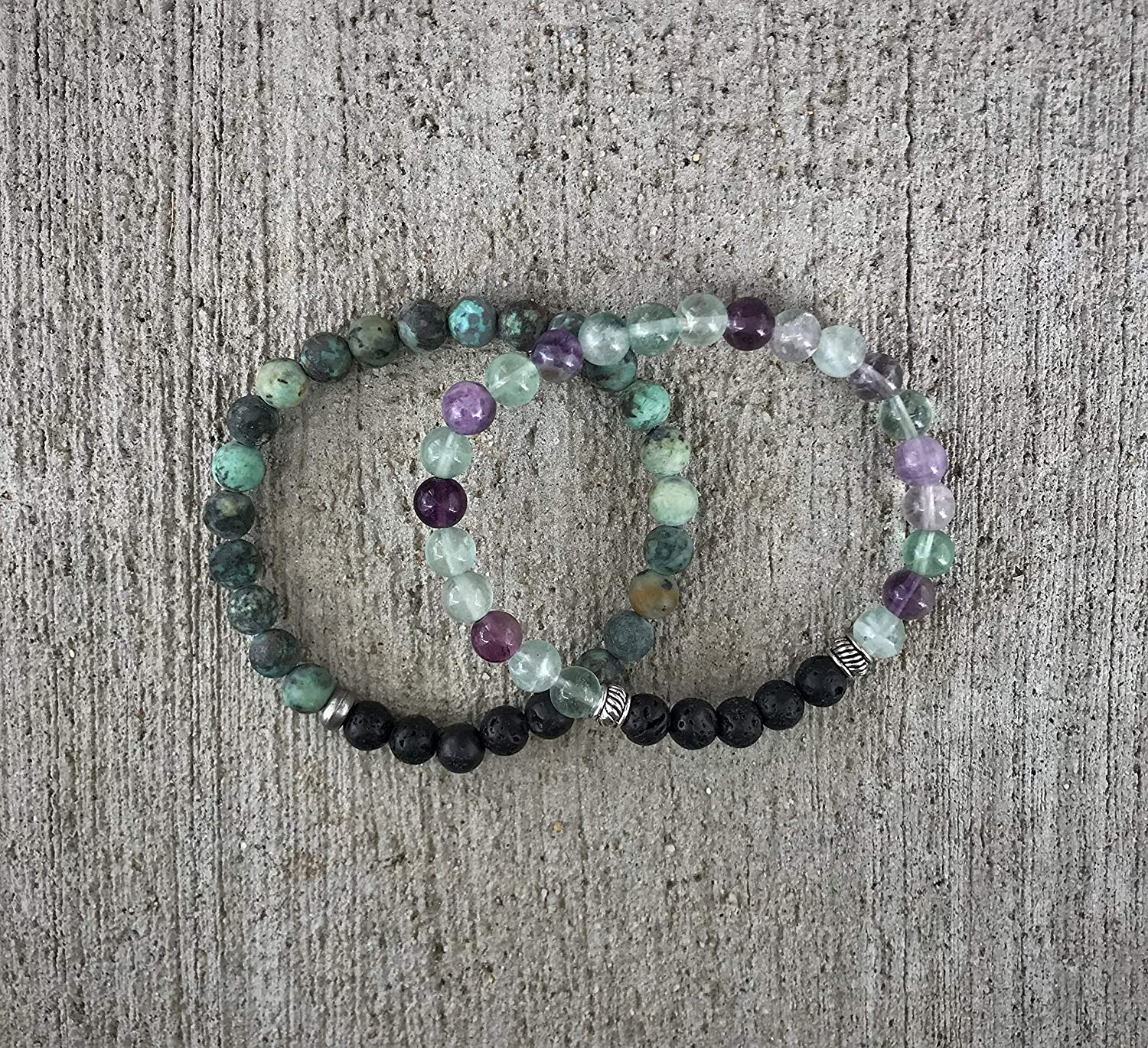 African Turquoise and Fluorite Aromatherapy Bracelet stack
