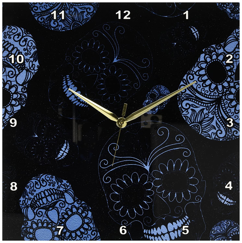3dRose dpp/_110444/_1 Blue Sugar Skulls Day of The Dead Art-Wall Clock 10 by 10-Inch