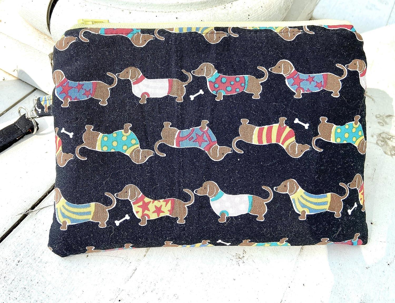 Essential Oil bag case Wristlet Clutch doxie dog with Credit Card Slots cash slot roller bottle pockets