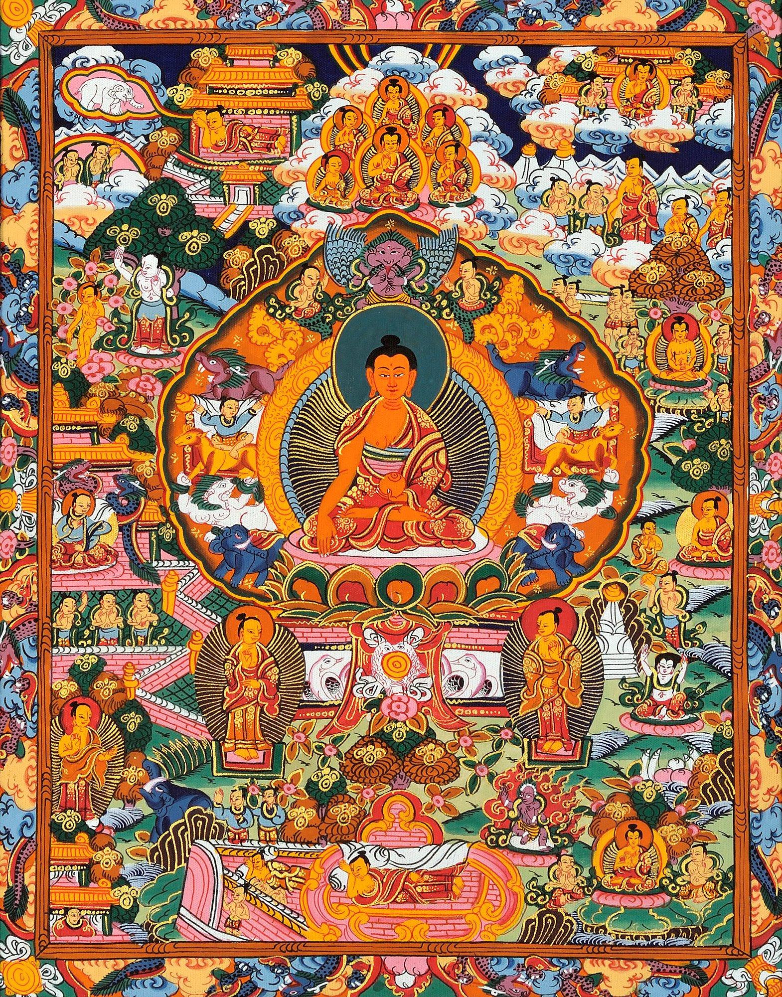 Gautam Buddha with Scenes from His Life (Tibetan Buddhist) - Tibetan Thangka Painting by Exotic India (Image #1)