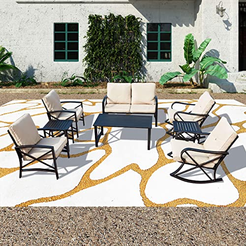 PatioFestival Cushioned Metal Outdoor Conversation Sets,8 PCs All Weather Padded Furniture Sectional Sofa Sets w Loveseat,Rocking Chairs,Coffee Table for Yards,Gardens,Porches 8 PCS-1, Khaki