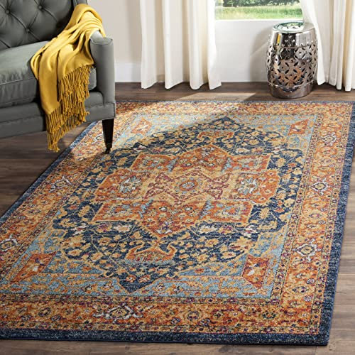 Safavieh Evoke Collection EVK275C Boho Chic Medallion Distressed Area Rug, 11 x 15 , Blue Orange