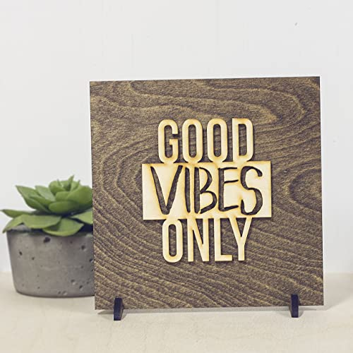 Amazon Good Vibes Only Wood Sign Decoration Handmade Classy Wholesale Home Decor Signs