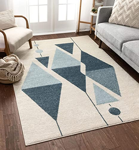 Well Woven Gatlin Modern Art Deco Abstract Blue Ivory Area Rug 3x5 3 11 X 5 3 Home Kitchen