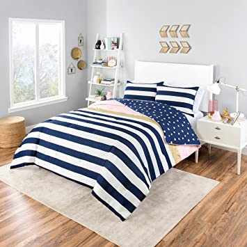3 Piece Navy White Glam Stripes Pattern Comforter Queen Set, Beautiful  Horizontal Bold Stripe