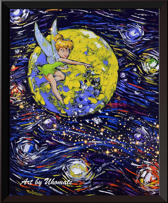uhomate Peter Pan Never Grow UpプリンセスティンカーベルVincent van Gogh starry nightポスターホームキャンバス壁アート記念ギフトベビーギフト子供部屋装飾用リビングルーム壁装飾a033 8X10 inch 8X10 inch  B073T8W2F4