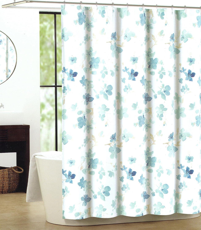 Amazon.com: Tahari Luxury Cotton Blend Shower Curtain Printemps ...
