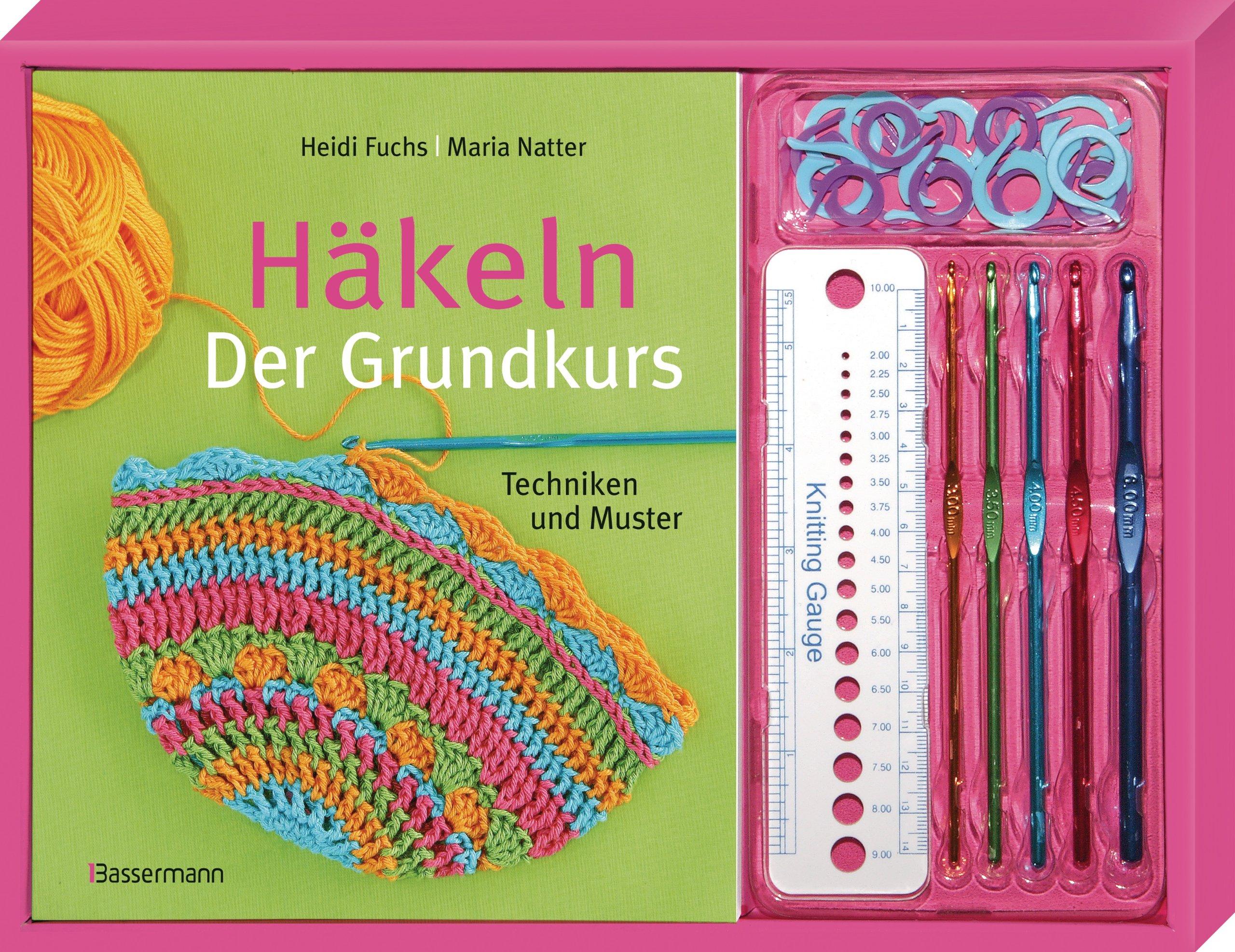 Häkeln. Der Grundkurs-Set: Techniken und Muster. Buch, 5 Häkelnadeln ...