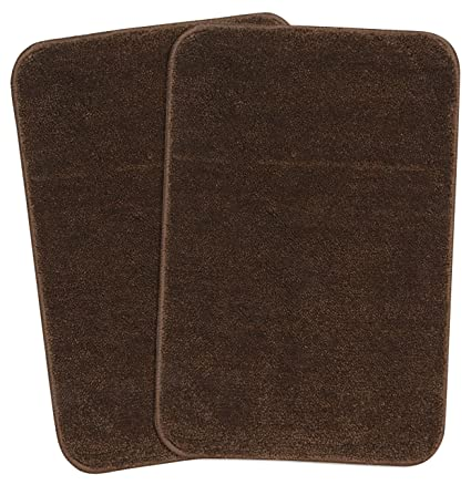 Saral Home Soft Microfiber Brown Small Anti Slip Bathmat Set of 2, 35X50cm