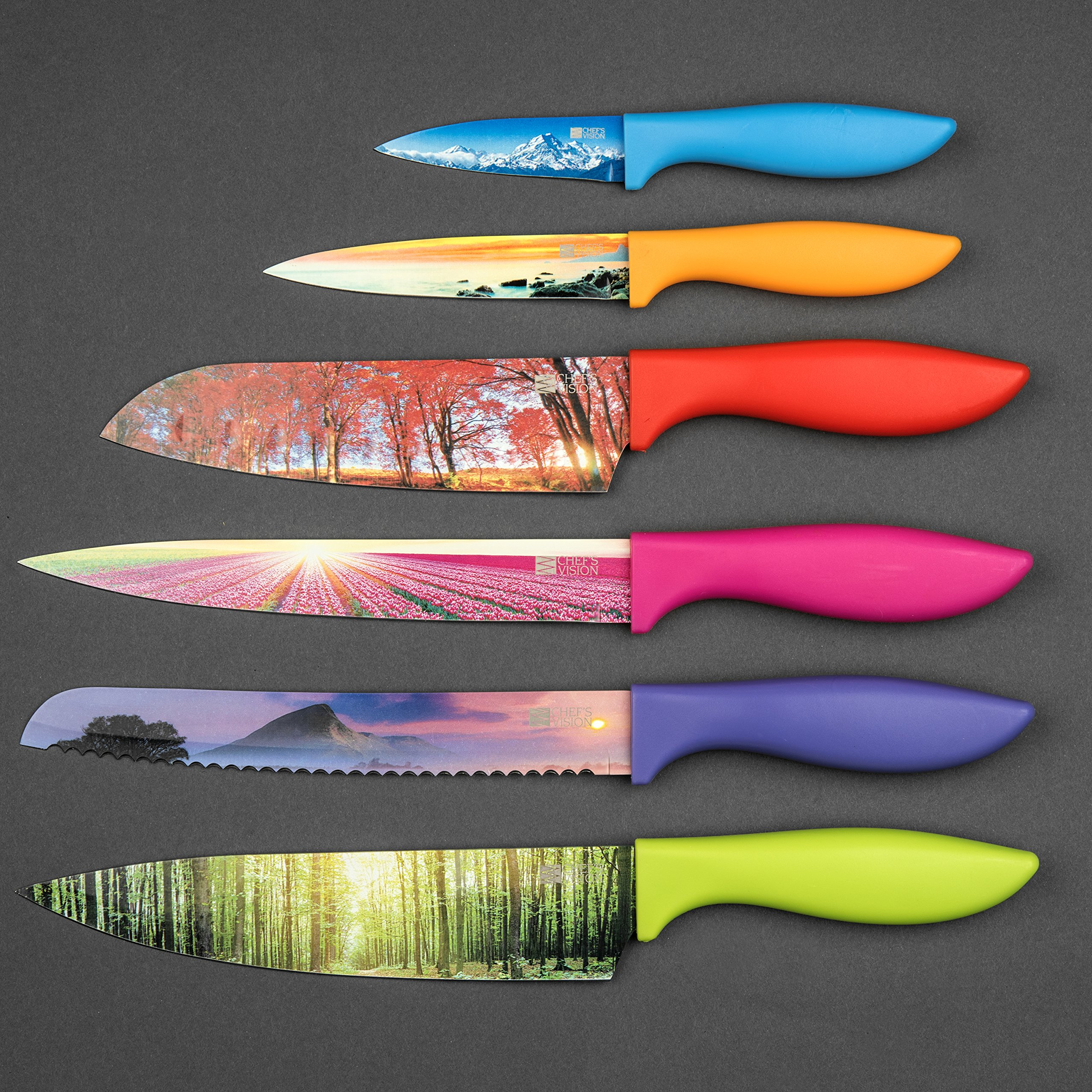 Kitchen Knife Set in Gift Box by Chef's Vision - Landscape Series - Beautiful, Unique Gifts For Her and For Him - 6 Piece Color Knife Set - Chef, Bread, Slicer, Santoku, Utility and Paring Knives by Chef's Vision (Image #7)