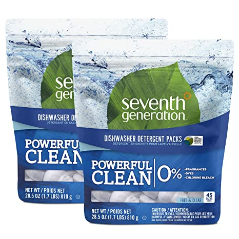 Amazon.com: Seventh Generation Dishwasher Detergent Packs, Free & Clear, 90  count: Health & Personal Care